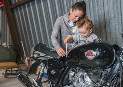 Build Train Race - Melissa, her son, and her INT650