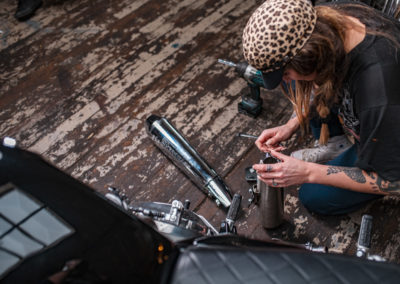 Lana putting on S&S slip ons - Build Train Race