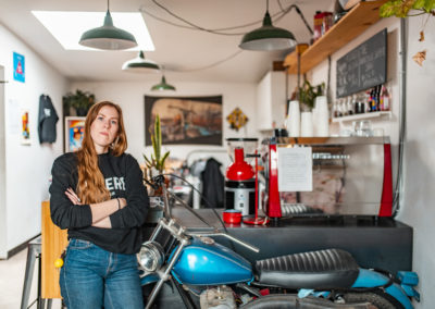 Andrea at Moto Revere, her DIY motorcycle & coffee shop